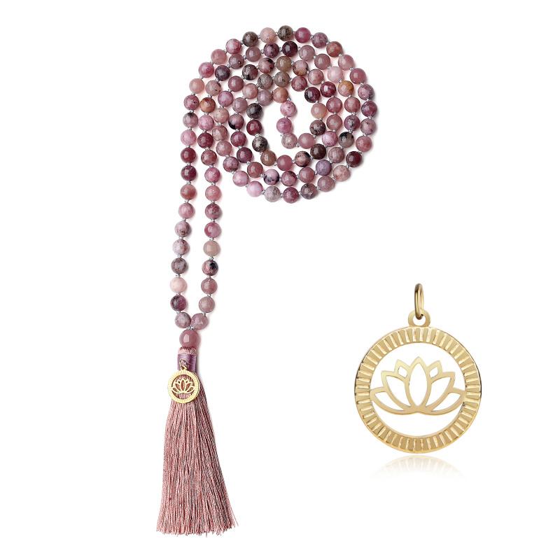 COAI Collana Mala Buddista 108 Perle di Lepidolite