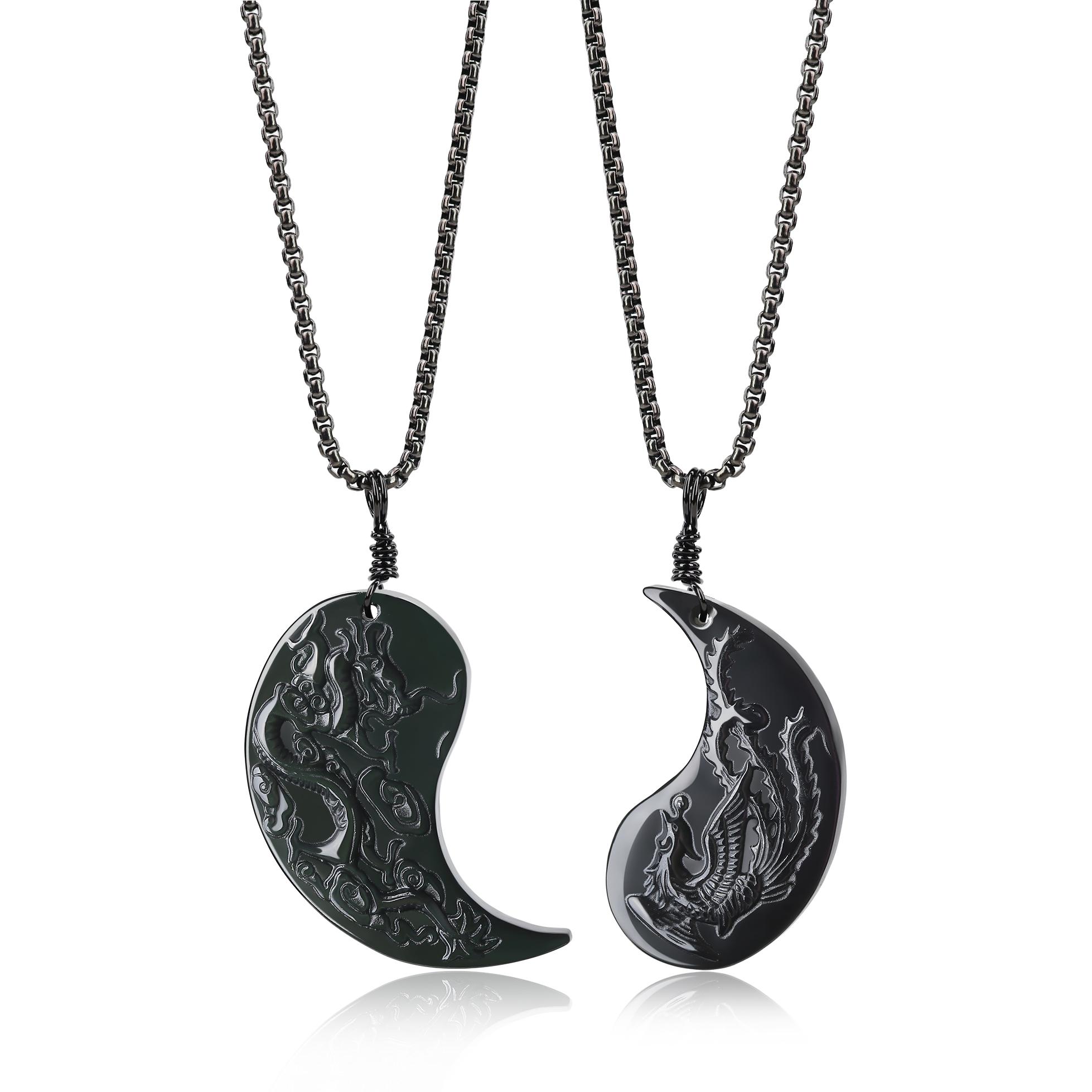 coai Pendentif Couple Yin Yang Dragon Ph/énix Obsidienne